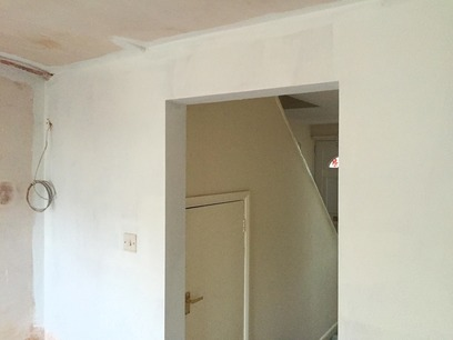 New skimmed walls, mist coat of paint before installation of kitchen Barnstaple Devon