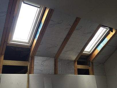 Installed 4 Velux windows, 2 on each side. With all timber rafters trimmed out in Barnstaple North Devon