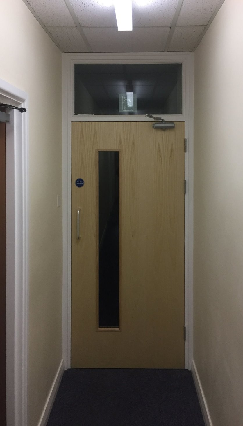 All doors installed to current regulations, improving the safety aspect of the door and the aesthetic value of the doors modernized the corridor in North Devon