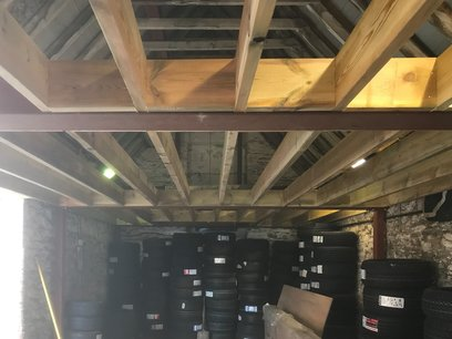 Mezzanine floor, joists installed at 400mm centers and noggings at either end.