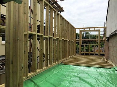 Framing out of timber stud walls, forming window openings and timber lintels