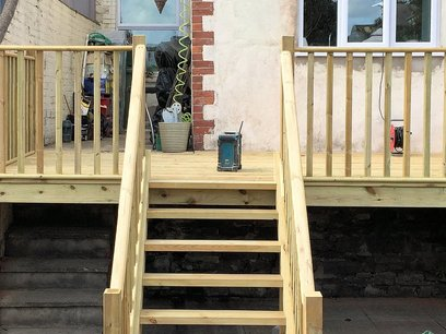 Decking area with steps in Barnstaple