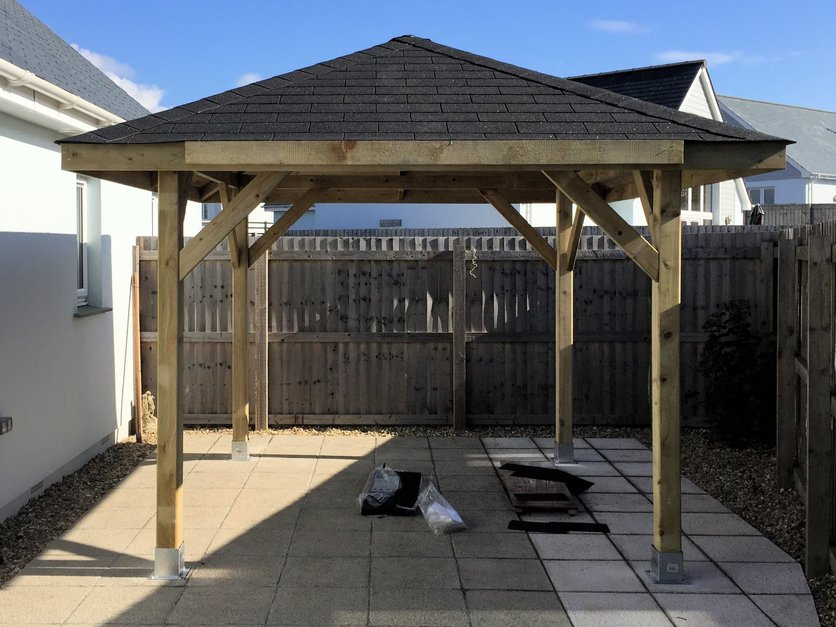 Gazebo made water proof with felt tiling roof