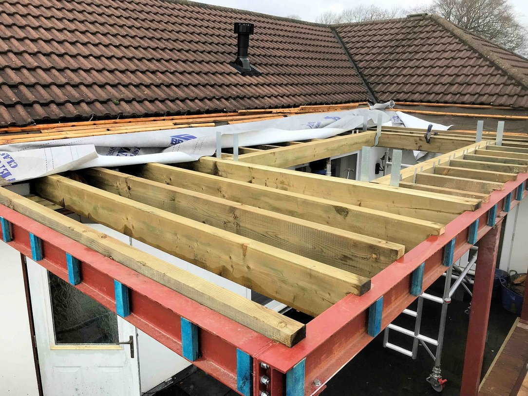 Roof joists in place with skylight aperture Bideford North Devon