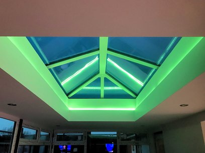Atmospheric ambient led interior room lighting system for sunroom in North Devon