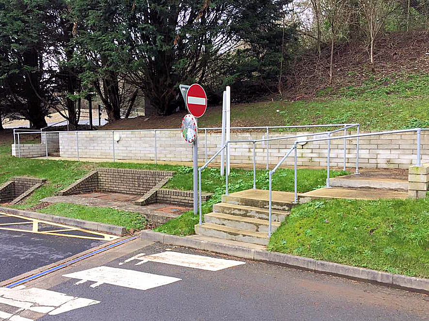 New carpark access steps and pathway with retaining wall. Key clamp hand rails and external footpath lighting