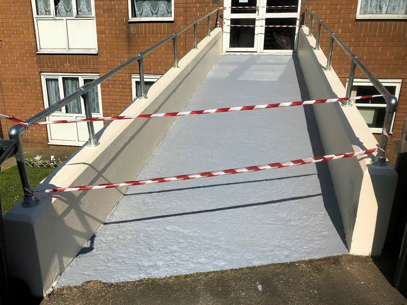 Bridge access refurbishment including Key clamp hand rail and painted walkway Barnstaple