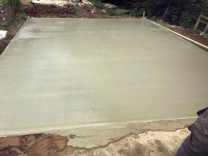 Garage concrete floor poured and tamp finish North Devon
