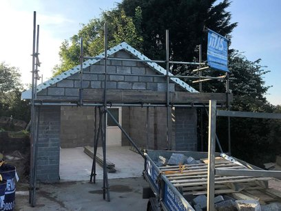 Garage roof gable end block work completed, North Devon