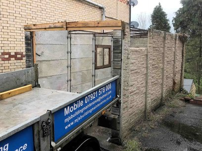 Old Garage with concrete cancer, dismantled and demolished, Barnstaple North Devon