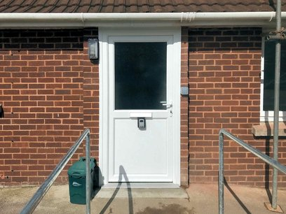 New uPVC front door widened for easy disabled access along with hand rails and outside lighting. North Devon