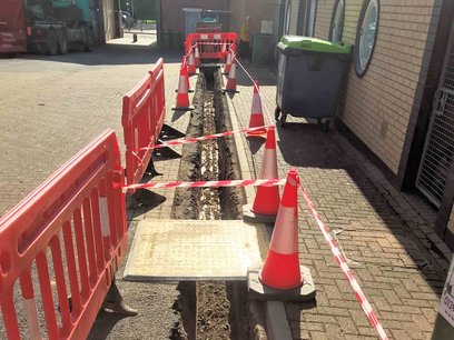 Trench excavated for new electrial supply Barnstaple North Devon