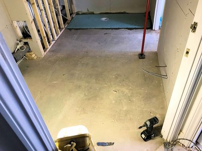 Plaster boarding and making good floor and walls. Wet Room North Devon