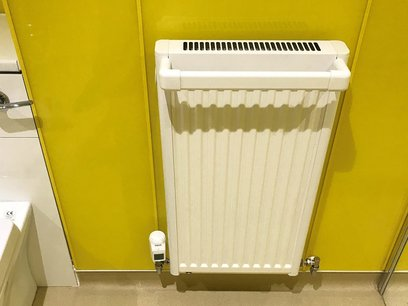 Honeywell wireless digital radiator thermostat fitted. Connected to remote Smart controller. Wet Room North Devon