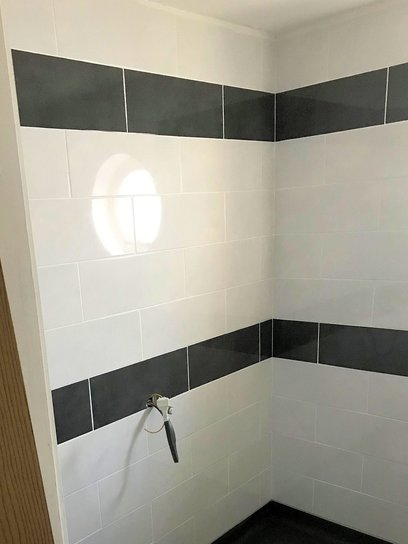 Level access shower, ready for fitting out, Barnstaple North Devon