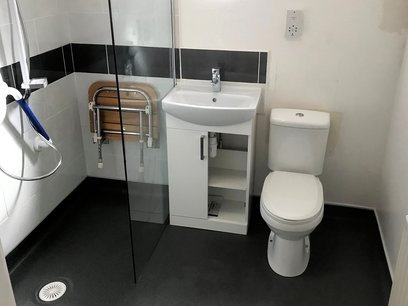 Fitted under wash basin unit being installed. And fold down seat within the shower wash area, Barnstaple North Devon