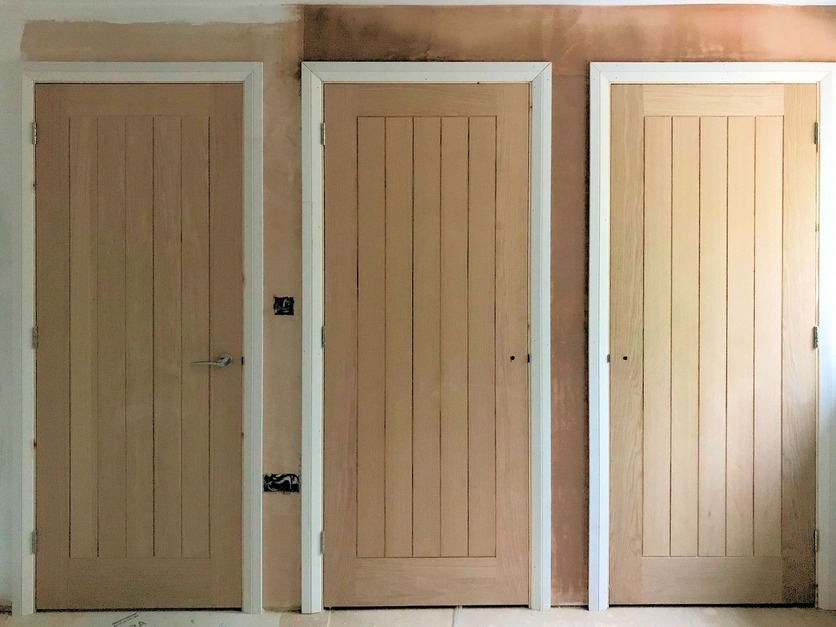 Doors and Built in Cupboards, Hidden walk-in wardrobe doors spaced to even out gaps between room entrance and wardrobes., Barnstaple North Devon