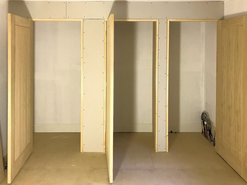 Doors and Built in Cupboards, Wardrobes framed out and plasterboarded, Barnstaple North Devon