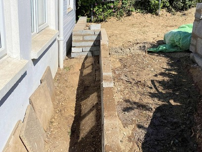 Pathway Transformation; Retaining wall for raised drive area. North Devon