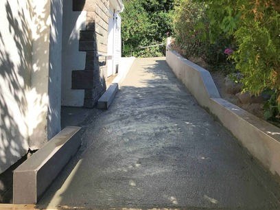 Pathway Transformation; Topcoat render and concrete path way. North Devon