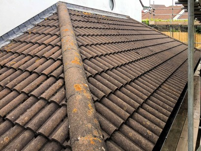 Original garage roof to be removed, all slates set aside for reuse. Barnstaple North Devon extension.