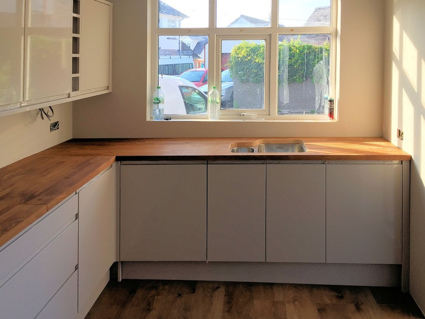 Completed installation of units and worktop Barnstaple Devon