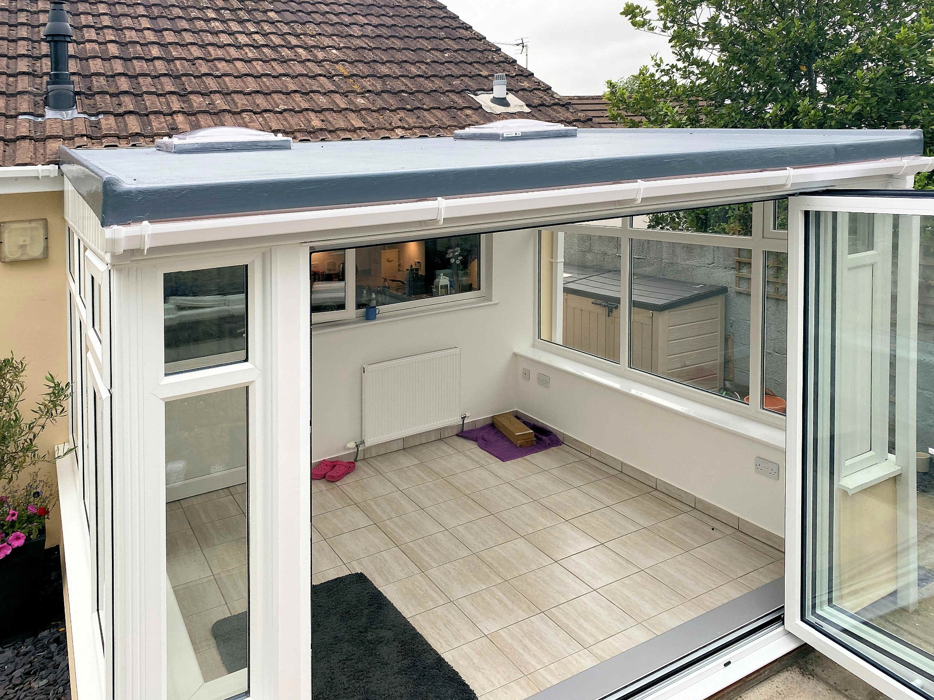 Completed fibreglass roof with skylights. Conservatory. Barnstaple North Devon